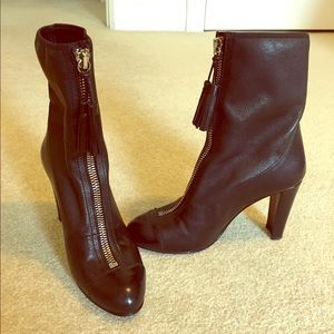 Stuart Weitzman black boots with zip and tassel